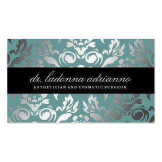 311 Ladonna Damask Teal Blue Pack Of Standard Business Cards