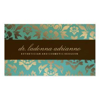 311 Ladonna Damask Teal Metallic Pack Of Standard Business Cards