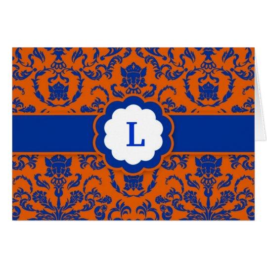 311-Lauren Damask  | Royal Blue Card