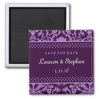 311-Lauren Damask Save the Date Purple Square Magnet