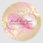311 Lavish Pink Platter & Damask Shimmer Golden Classic Round Sticker