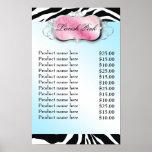 311 Lavish Pink Platter Zebra Price List Poster