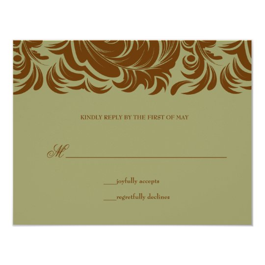 311-Lavishly Lainey Sage &  Brown RSVP Card