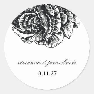 311-Le Plush Fleur - Black et White Stickers