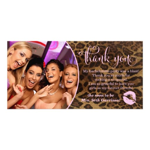311 Leopard Bachelorette Party Thank You Personalized Photo Card