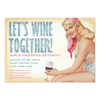311 Let's Wine Together Retro Pinup Girl 13 Cm X 18 Cm Invitation Card