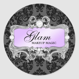 311 Lilac Glam Crazy Sticker Black Damask