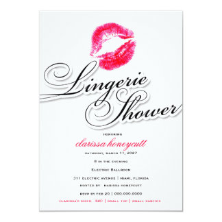311-Lingerie Shower - Candy Red Kisses 13 Cm X 18 Cm Invitation Card