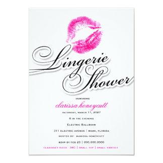 311-Lingerie Shower - Pink Kisses 13 Cm X 18 Cm Invitation Card