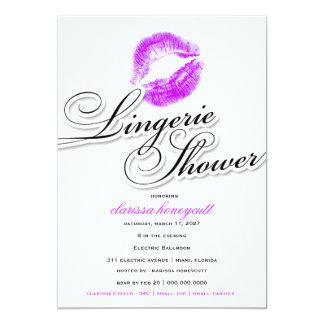 311-Lingerie Shower - Purple Kisses 13 Cm X 18 Cm Invitation Card