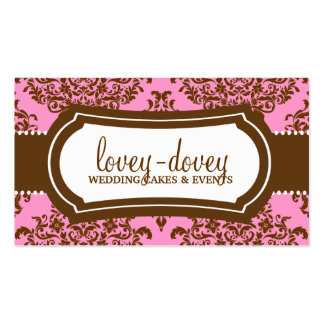 311 Lovey Dovey Damask Pink Brown Business Cards
