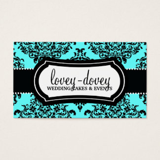 311 Lovey Dovey Damask Turquoise Blue Business Card