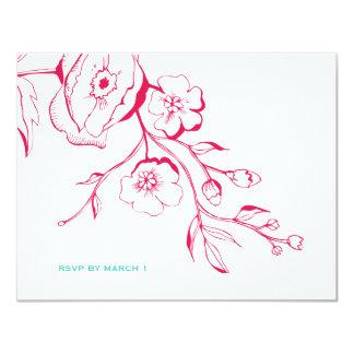 311-Lush Rouge Floral RSVP Card
