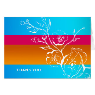 311-Lush Tropical Sunset Thank you Stationery Note Card