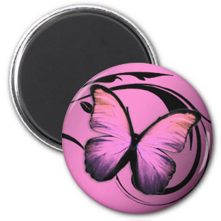 311 Lustrous Butterfly Pink Pout 6 Cm Round Magnet