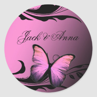 311 Lustrous Butterfly Pink Pout Round Sticker