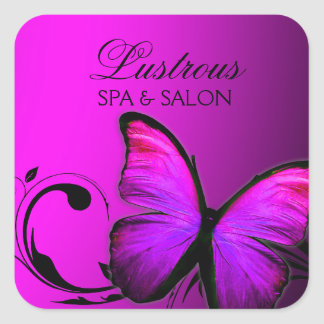 311 Lustrous Butterfly Pink Purple Square Sticker