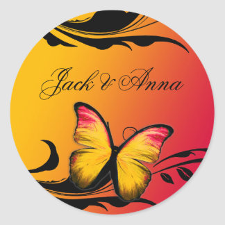 311 Lustrous Butterfly Sunset Round Sticker