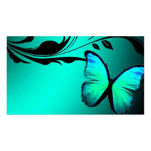 311 Lustrous Butterfly Turquoise Blue Name Card Business Card Template