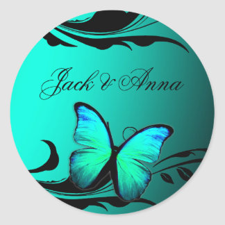 311 Lustrous Butterfly Turquoise Blue Round Sticker