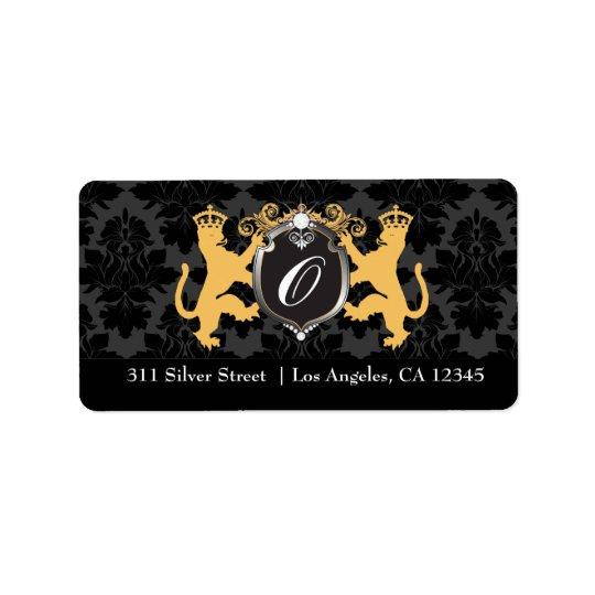 311 Luxe Lion Heraldry Yellow Address Label