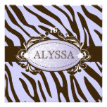 311-Luxuriously Lilac Brown Zebra Sweet 16 Custom Announcements