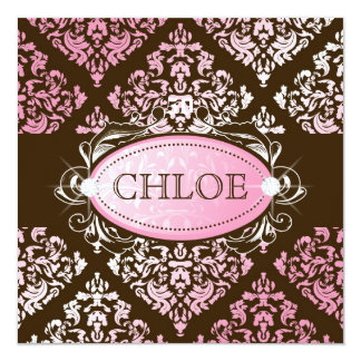 311-Luxuriously Pink Brown Damask 50 and Fabulous 13 Cm X 13 Cm Square Invitation Card