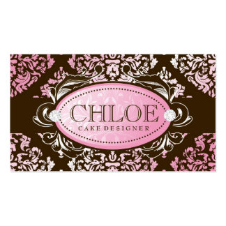 311 Luxuriously Pink N Brown Damask Monogram Business Card