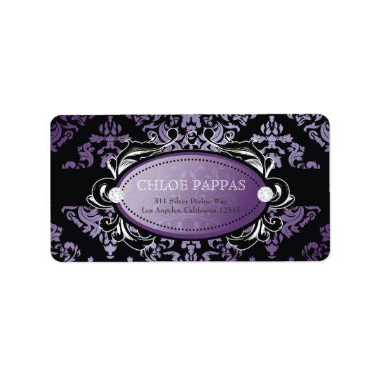 311 Luxuriously Purple Damask Label Address Label