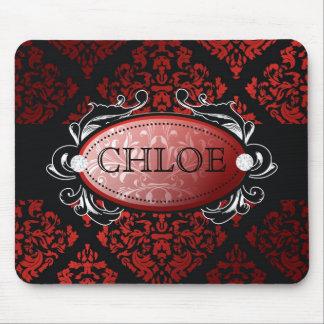311-Luxuriously Red Liquorice Damask Mouse Pad