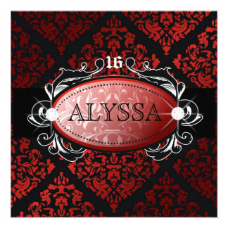 311 Luxuriously Red Liquorice Damask Sweet 16 Custom Invites