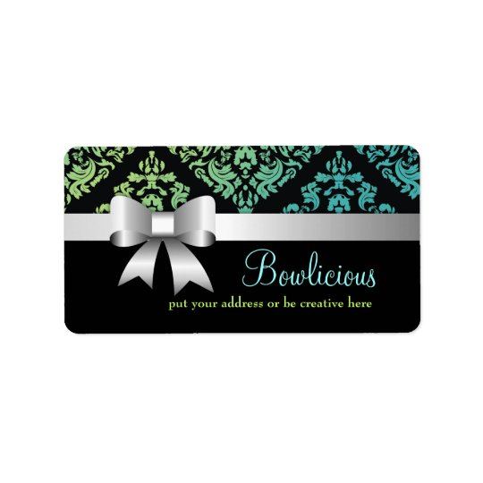 311-Luxuriously Turquiose Lime Damask Label Address Label
