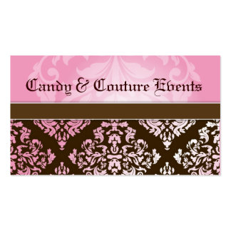 311 Luxuriously Vincelette Damask 2 Pink Brown Business Card Template