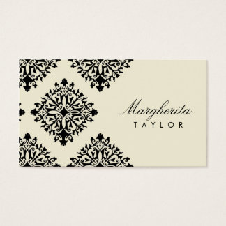 311 Margherita Cream et Blanc Damask Business Card