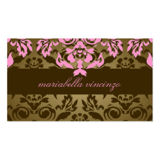311-Mariabella Brown Damask Pink Business Cards