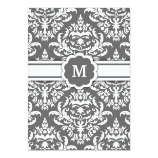 311-Marissa Monogram Damask Charcoal Card