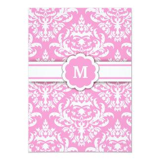311-Marissa Monogram Damask Pink 13 Cm X 18 Cm Invitation Card