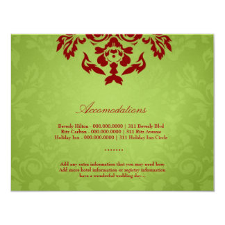 311-Metallic Gold Lime Flame Accommodation Card 11 Cm X 14 Cm Invitation Card