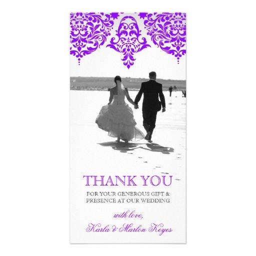 311 Mon Cherie Damask Fabulous Purple Photo Card Template