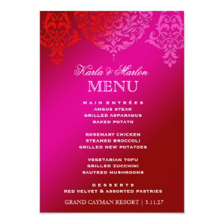 311 Mon Cherie Damask Pink & Red Dream 13 Cm X 18 Cm Invitation Card