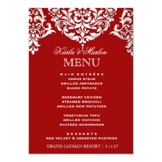 "311 Mon Cherie Damask Red & Faux Silver 5"" X 7"" Invitation Card"
