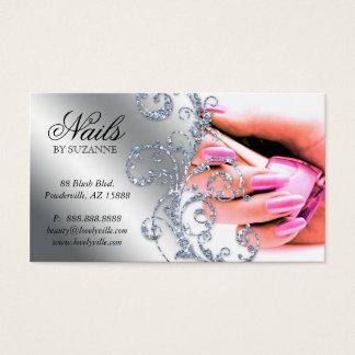 311 Nail Salon Business Card Glitter Pink Silver