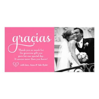 311 Ornate Gracias Photo Card Heart Pink