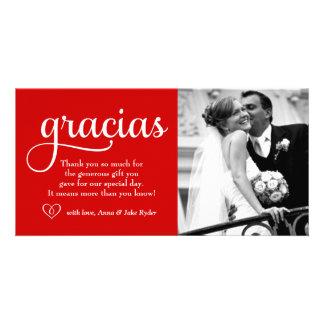 311 Ornate Gracias Photo Card Heart Red