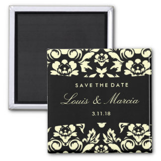 311-Outback Damask | Cream Square Magnet