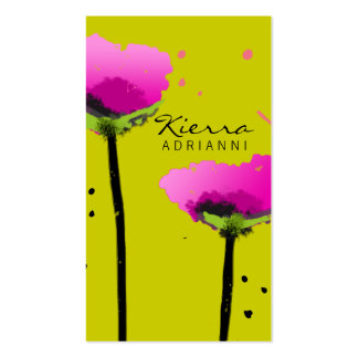311-PASSIONATE POPPY | PEA GREEN BUSINESS CARD