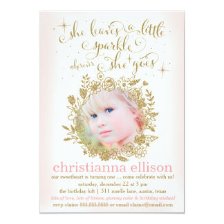 311 Peach She Leaves A Little Sparkle Floral 13 Cm X 18 Cm Invitation Card