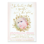 311 Peach She Leaves A Little Sparkle Floral 5x7 Paper Invitation Card