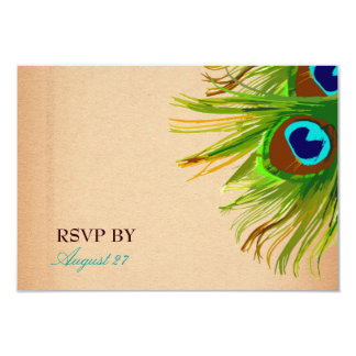 311-Peacock Feather RSVP 9 Cm X 13 Cm Invitation Card
