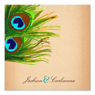 311-Peacock Feather-Vintage Background 13 Cm X 13 Cm Square Invitation Card